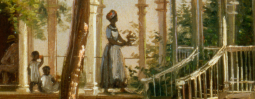 A detail from a painting showing a black woman carrying a tray between buildings.