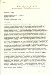 Page 1 of a letter to Ravitch typed on Walker Teynolds, Jr., M.D.'s letterhead.