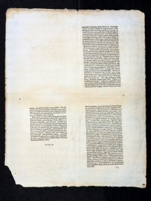 A sheet in quadrents, three bolocks of text and the signature mark finis.