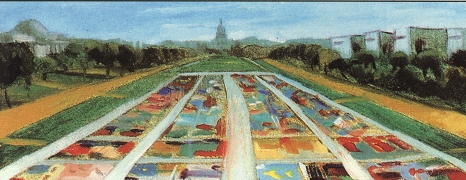 Drawing of the AIDS Memorial Quilt on the National Mall in Washington, D.C.