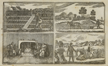 A set of four engravings of planting, plowing, spinning, and reaping.