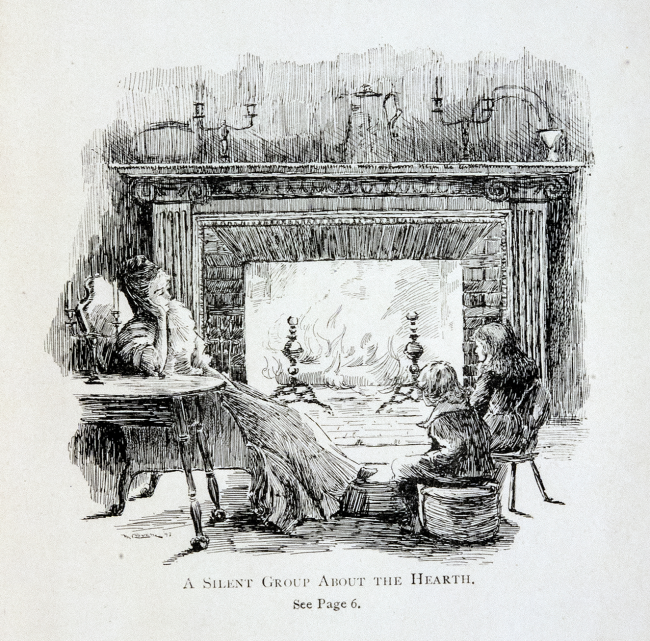 An engraving of a woman slumped in a chair and two children sitting by a fireplace.