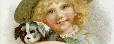 Late 19th century advertisement for Dr. Seth Arnold's Cough Killer, featuring a little girl holding a dog.