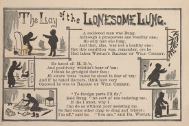 An illustrated poem depicts a man arguing with doctors in silhouette.