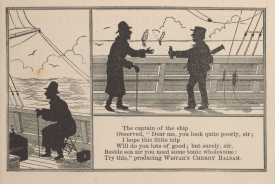An illustrated poem depicts a man on a ship in silhouette.