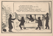 An illustrated poem depicts a man talking with a group of diners in silhouette.