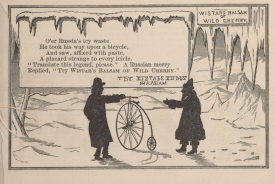 An illustrated poem depicts a man with a bicycle talking with a man in a heavy coat surrounded by icicles in silhouette.