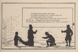 An illustrated poem depicts a man kneeling before the Pope in silhouette.