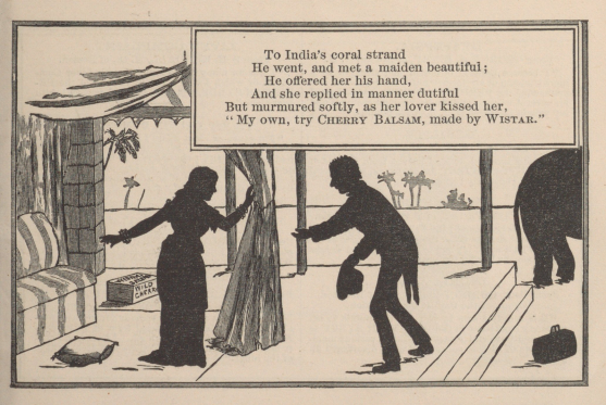 An illustrated poem depicts a man bowing to a woman under a canopy in the desert in silhouette.