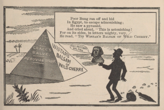 An illustrated poem depicts a man looking at pyramids and the sphinx which advertise Wistar's Balsam of Cherry in silhouette.