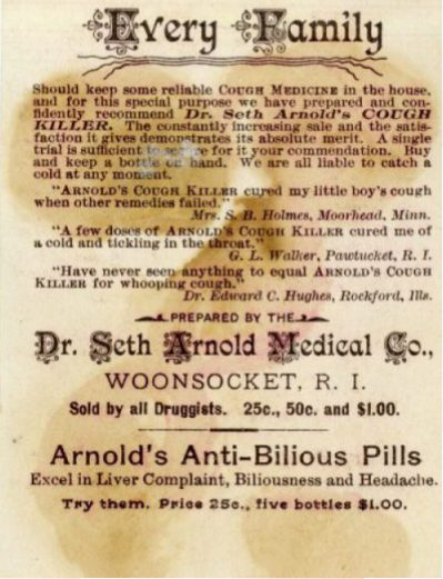 Text on the back of a patent medicine card advertising Dr. Seth Arnold's Cough Killer, including the manufacturer's claim of the drug's reliability, 3 customer testimonials, and the price of the drug.