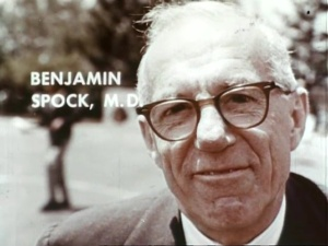 A portrait of Benjamin Spock, M.D. from a film.