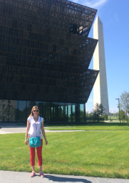 Loren Miller stands outside the Smithsonian Museum of African American History and Culture