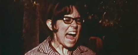 Woman with glasses screaming