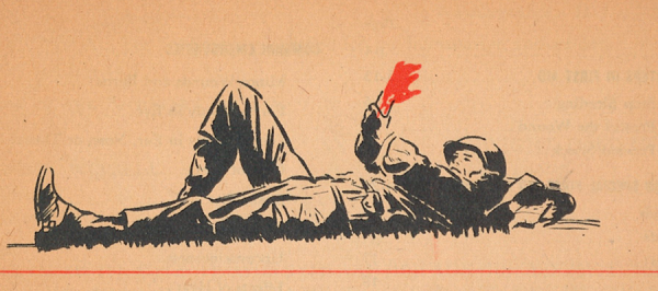 Illustration of a bleeding soldier.