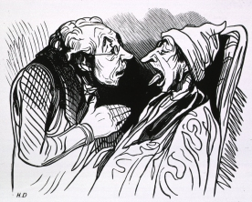 A cartoon of a man sticking out his tongue while another man looks into his mouth.