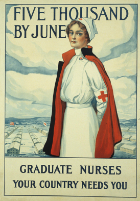 Illustrated poster of a Red Cross nurse reads Graduate nurses, your country needs you.