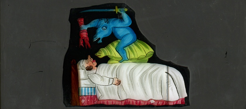 Glass slide with color image of a nightmare.
