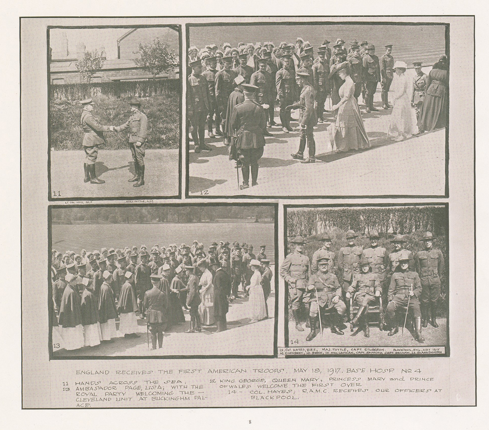 14230550rp10 circulating now from nlm four images of the british greeting the arriving american medical personnel m4hsunfo