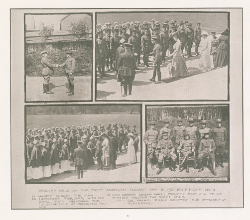 Four images of the British greeting the arriving American medical personnel.