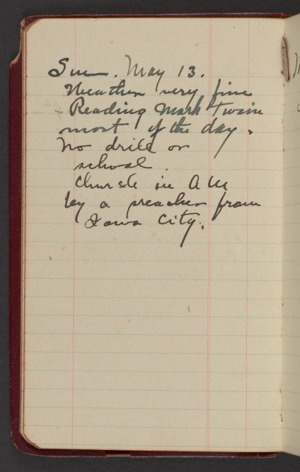 Dr. Blankenhorn diary page for May 13, 1917.
