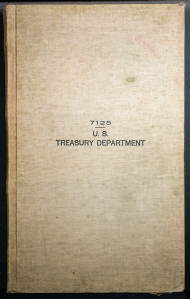 A cloth bound ledger sized book with 7125 U. S. Treasury Department printed on the front.
