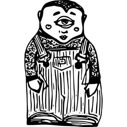 A one-eyed figure wearing overalls.