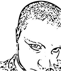 Digital Portrait in line drawing style.