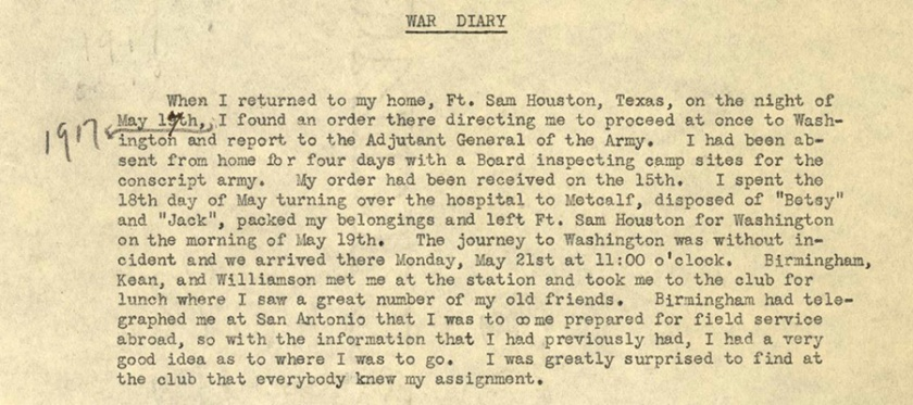 A typed war diary entry.