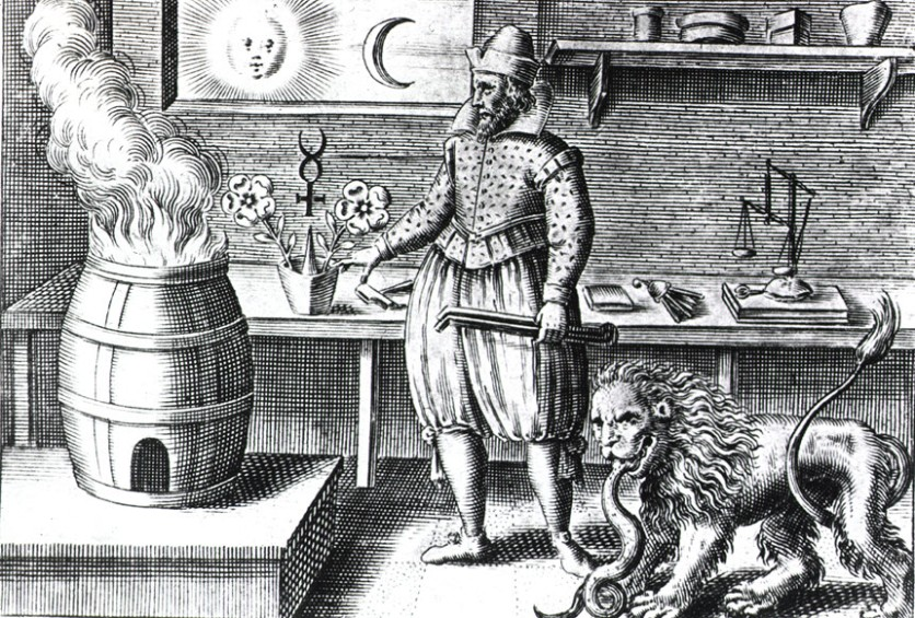 Illustration of an alchemy workshop.