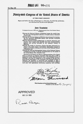 Red line document of Public Law 99-231 sighed by Ronald Reagan