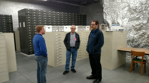 Ben, Walter, and Iron Mountain Staff in the cool vault, 2017