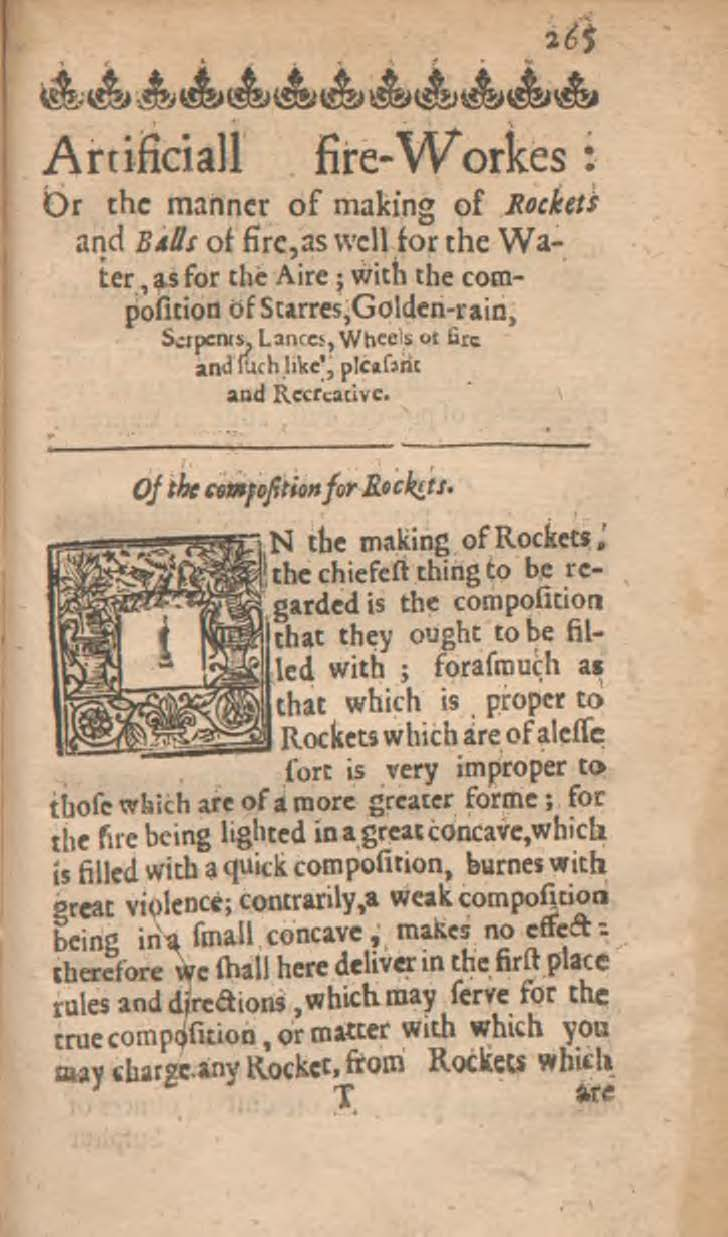 The First Page Of A Chapter On How To Make Artificial Fireworks Including Composition