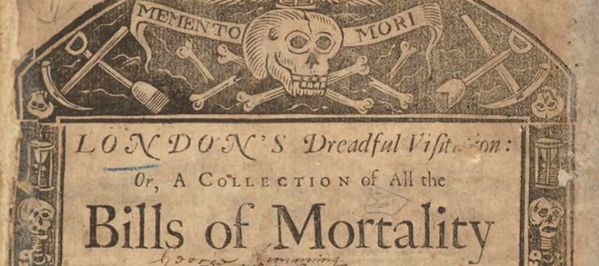 Detail of Title page of London's Dredful Visitation printed with a motief of skulls, hourglasses, and shovels surrounding the text.