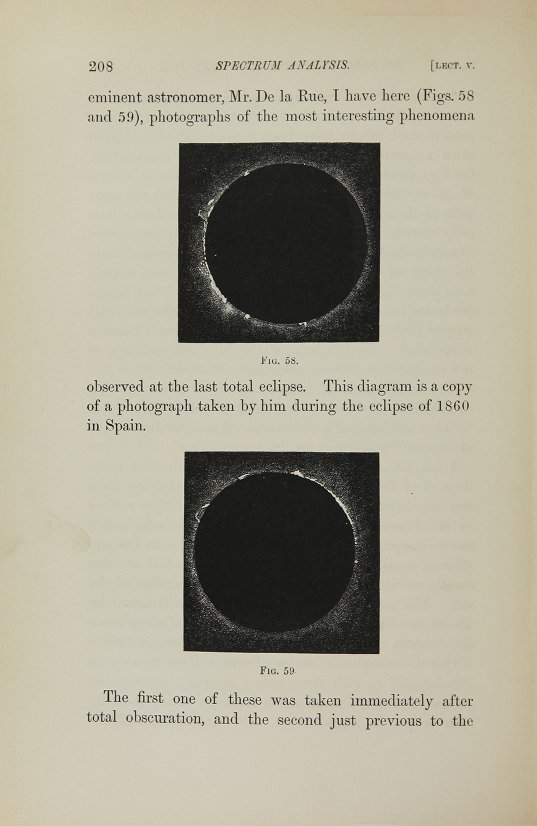 Two photographs taken during the solar eclipse in Spain in 1860.