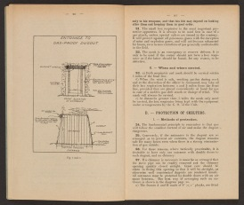 Diagram drawing on left page and text on right page.