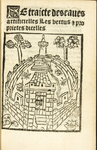 Text written in French and a drawing of a castle.