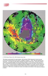 A map of the southern hemisphere showing measurements of the antarctic ozone hole.