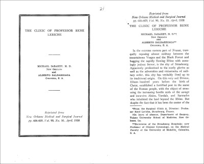 The cover and introduction of a paper recounting Debakey's experience of Leriche's Clinic.