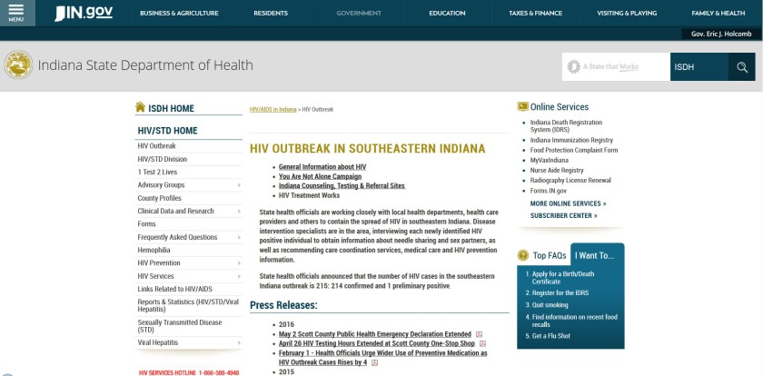 Screenshot of the Indiana State Government's website on the HIV outbreak in Southeastern Indiana.