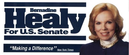 Senate campaign banner for Bernadine Healy.