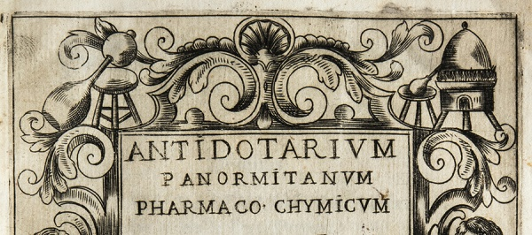 Woodcut titlepage with botanical and alchemical decorations.