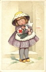 Color illustration of a little girl wearing a purple striped dress and yellow polka dot hat, and yellow shoes hugging a doll dressed as a soldier.