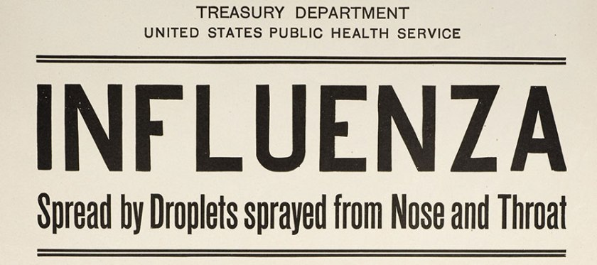 Poster containing information about influenza from the Treasury Department.