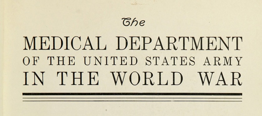 Title page of the MEDICAL DEPARTMENT OF THE UNITED STATES ARMY IN THE WORLD WAR