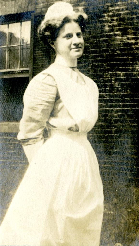 Full length portrait of nurse, Cornelia Mercer