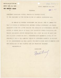 A telegram on vietnamese letterhead signed by Ho Chi Minh.