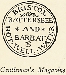A printed seal reading Bristol Battersbee and Barbat Hot Well Water.