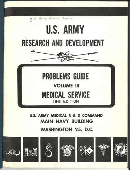 Report cover in black and white decorated with U.S. Army division symbols.