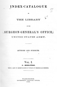 Title page from Volume I of the Index-Catalog of the Library of the Surgeon-General's Office.